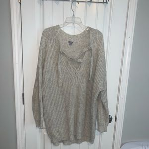 Aerie lace up sweater